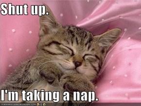 Shut up.  I'm taking a nap.