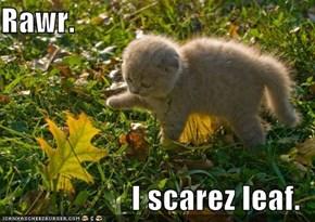 Rawr.  I scarez leaf.