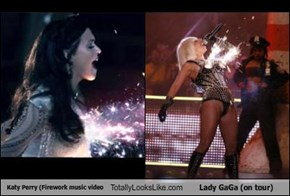Katy Perry (Firework music video Totally Looks Like Lady GaGa (on tour)