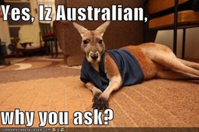 Yes, Iz Australian,   why you ask?