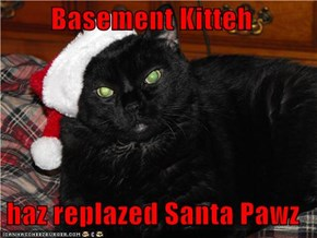 Basement Kitteh   haz replazed Santa Pawz