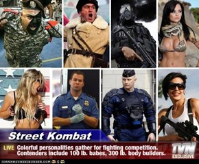 Street Kombat - Colorful personalities gather for fighting competition. Contenders include 100 lb. babes, 300 lb. body builders.