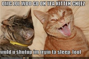 OMG LOL WOO GO OH YEA KITTEH CHEEZ  wuld u shutup im tryin ta sleep, fool