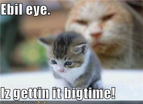 Ebil eye.  Iz gettin it bigtime!