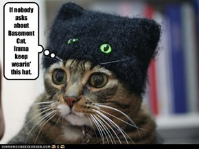 If nobody asks about Basement Cat,  Imma keep wearin' this hat.
