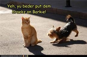 Yeh, yu beder put dem braekz on Barkie!