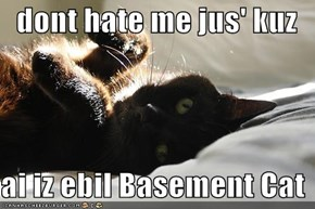 dont hate me jus' kuz  ai iz ebil Basement Cat