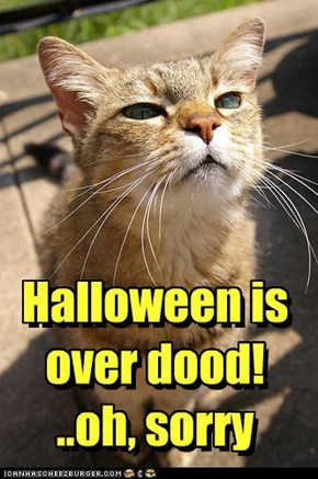 Halloween is  over dood!   ..oh, sorry