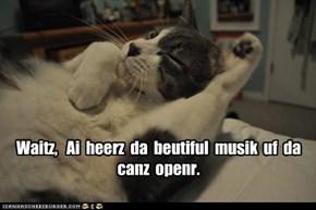 Waitz,   Ai  heerz  da  beutiful  musik  uf  da  canz  openr.