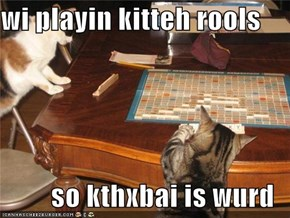 wi playin kitteh rools  so kthxbai is wurd