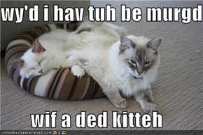 wy'd i hav tuh be murgd  wif a ded kitteh