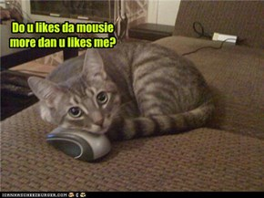 Do u likes da mousie more dan u likes me?