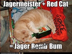 Jagermeister + Red Cat      = Jager                Bum