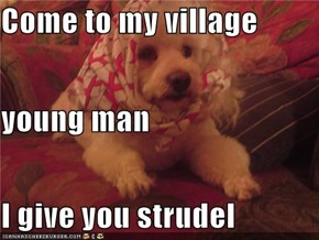 Come to my village  young man I give you strudel