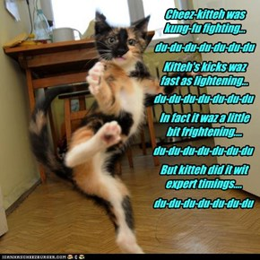 Cheez-kitteh was kung-fu fighting...