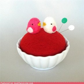 Felted Birdie Pincushion