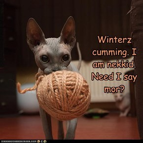 Winterz cumming. I am nekkid. Need I say mor?