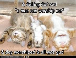 "& Ceiling Cat sed ""u mae nao worship me"""