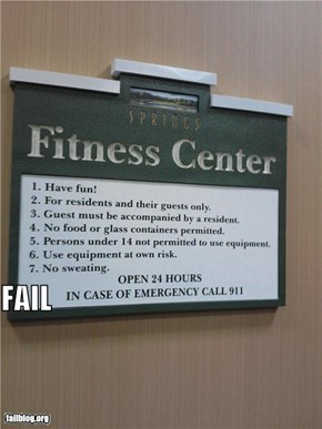 Fitness Center Rule Fail