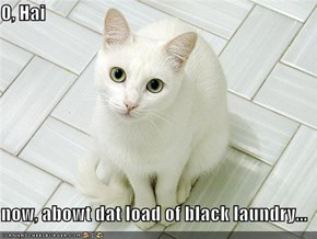 O, Hai  now, abowt dat load of black laundry...
