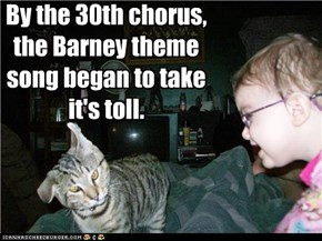 By the 30th chorus, the Barney theme song began to take it's toll.