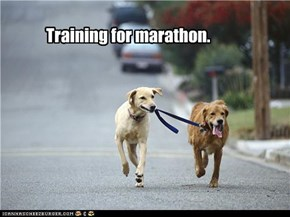 Training for marathon.