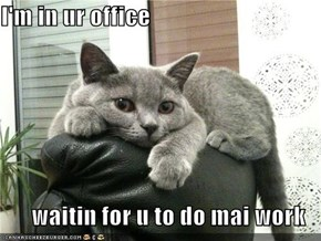 I'm in ur office  waitin for u to do mai work
