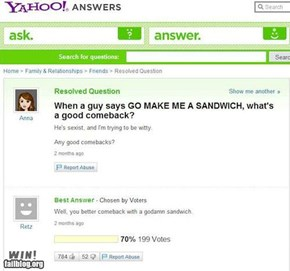Yahoo Answer Win