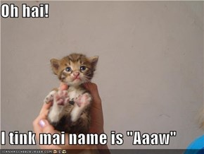 "Oh hai!  I tink mai name is ""Aaaw"""