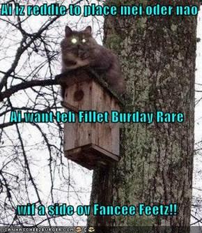 Ai iz reddie to place mei oder nao Ai want teh Fillet Burday Rare wif a side ov Fancee Feetz!!