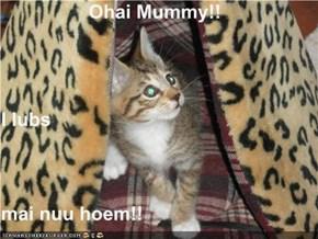 Ohai Mummy!! I lubs mai nuu hoem!!