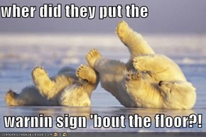 wher did they put the   warnin sign 'bout the floor?!