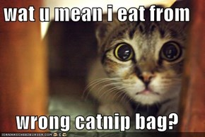 wat u mean i eat from  wrong catnip bag?