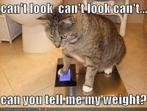 can't look  can't look can't...  can you tell me my weight?