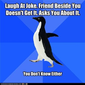 Laugh At Joke. Friend Beside You Doesn't Get It. Asks You About It.