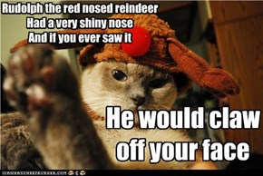Rudolph the red nosed reindeer Had a very shiny nose And if you ever saw it