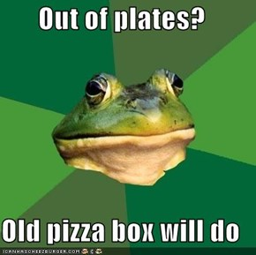 Out of plates?  Old pizza box will do