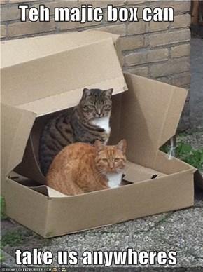 Teh majic box can  take us anywheres