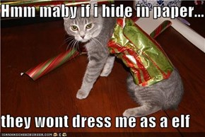 Hmm maby if i hide in paper...  they wont dress me as a elf