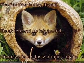FireFox has finawy fownd  lite at teh end ub teh tunnel... Ooopzy'z iz jus faslz alramz, again.