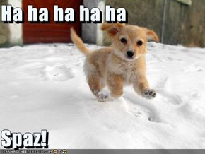 Ha ha ha ha ha   Spaz!