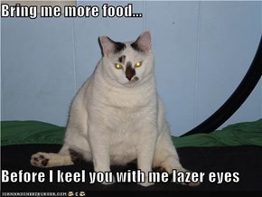 Bring me more food...  Before I keel you with me lazer eyes