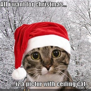 All i want for christmas...  ...iz a pictur with ceiling cat.