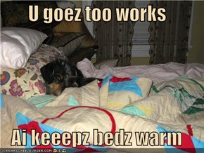 U goez too works  Ai keeepz bedz warm