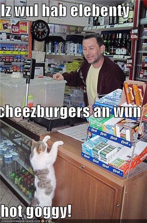 Iz wul hab elebenty  cheezburgers an wun  hot goggy!