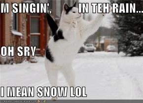 M SINGIN',           IN TEH RAIN... OH SRY I MEAN SNOW LOL