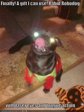 Finally! A gift I can use! Rabid Robodog  with laser eyes and tongue action