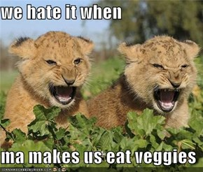 we hate it when   ma makes us eat veggies