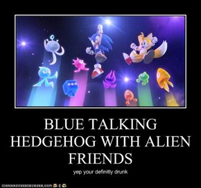 BLUE TALKING HEDGEHOG WITH ALIEN FRIENDS