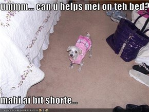 ummm... can u helps mei on teh bed?  mabi ai bit shorte...